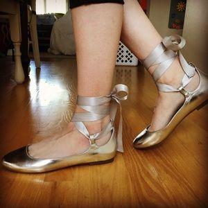 Aldo silver ribbon ballet lace-up flats
